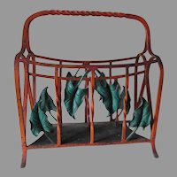 Art Deco Hand Made Wrought Iron Magazine Holder with Leaf Motif