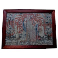 Antique French Needlepoint Tapestry, The Lady and the Unicorn