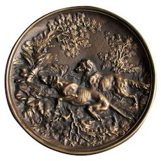 Antique Plaque of Hunting Dogs, Spaniels, Bronze or Brass Home Decor
