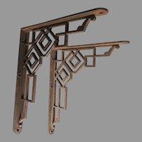 Large Antique Architectural Shelf Brackets, Cast Iron Home Decor