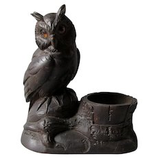 Great Horned Owl, German Black Forest Match Safe