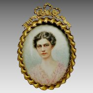 Lovely Antique Miniature Painting of a Beautiful Young Woman