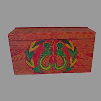 Antique Folk Art Grain Painted, Stenciled Trunk with Birds
