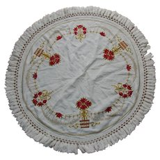 Pretty Art Nouveau Embroidered Tablecloth with Red Roses, Topiary