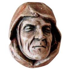 Antique Arts & Crafts Match safe of a Monk, Wall Pocket