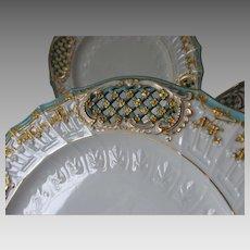 3 Fine Porcelain Plates by Fischer & Mieg, Gilt Gold & Lattice Motif