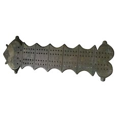 Antique Bronze Cribbage Board, Card Game Accessory