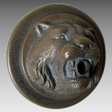Figural Lion Bronze Door Bell, Servant Call Cover, Architectural