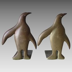 c1930s Art Deco Bronze Penguin Bookends, Desk or Library Accessory
