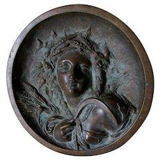 Antique Bronze Plaque Depicting the Season of Fall