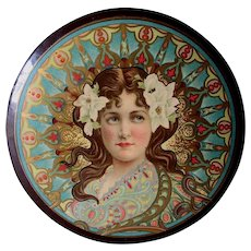 Antique Art Nouveau Celluloid Collar, Vanity Box with Lovely Lady