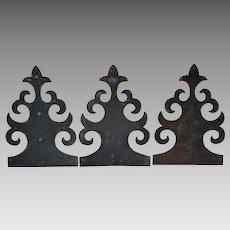 Antique Gothic Bronze Architectural Elements, Faux Hinges