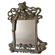 Pretty Antique Art Nouveau Mirror, Picture Frame, Lady in Gown