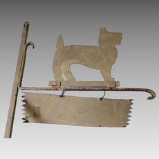 Art Deco c1930s Scotty Dog Sheet Metal Sign, Garden Decor
