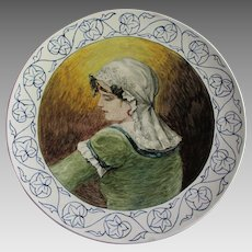 Lovely Antique c1883 European Majolica, Faience Charger, Hand Painted