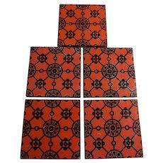 5 Antique Mintons, Architectural Terra Cotta Art Pottery Tiles