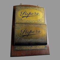 Antique Brass and Oak Letter Holder, Wall Pocket, Paper Rack