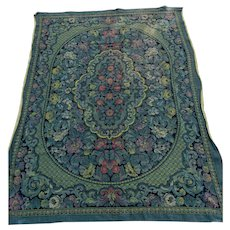 Lovely Antique Victorian, Edwardian Tapestry Tablecloth with Flowers