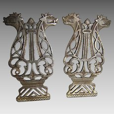 Pair Gothic Cast Iron Architectural Elements with Gargoyle Heads