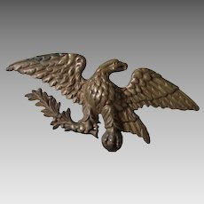 Vintage Bald Eagle, Laurel Leaf Patriotic Finial, Cast Brass Americana
