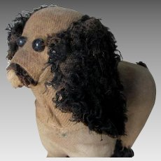 Charming Antique Poodle, Spaniel Dog, Straw Filled, Shoe Button Eyes