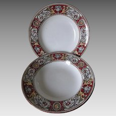 "Pair Minton & Co. Circa 1862 Red Florentine 9.5"" Bowls - Griffins, Urns, Cameos"