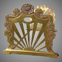 Pretty Art Nouveau Expanding Bookends with Water Lily Motif