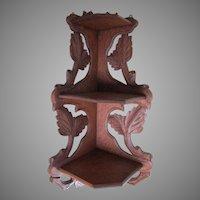 Antique Hand Carved Oak Carved Corner Shelf
