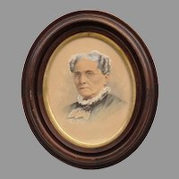 Antique Hand Painted Photograph of Julia Johnson in Original Frame