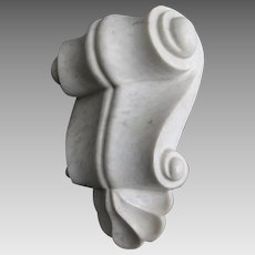 Antique Hand Carved Marble Architectural Shelf Bracket, Keystone