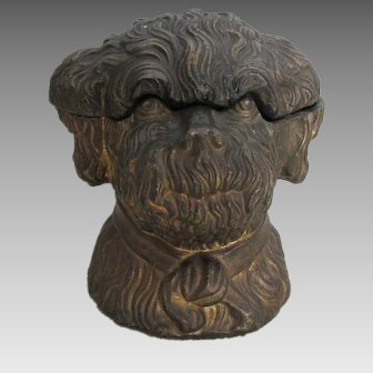 Antique 19thC Spaniel Dog Humidor, Figural Dog Box