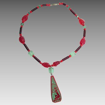Art Deco Egyptian Revival Glass Necklace, Lady Playing Harp Instrument