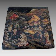 Antique Asian Chinosorie Paper Mache Box with Geisha Ladies