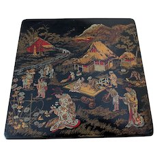 Antique Asian Chinosorie Paper Mache Box with Geisha Ladies