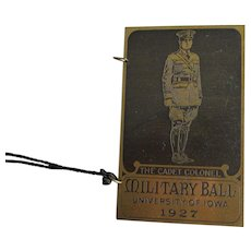 c1927 Art Deco Military Ball Dance Card Holder, University of Iowa