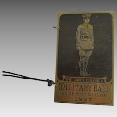 c1927 Art Deco Military Ball Dance Card Holder, University of Iowa