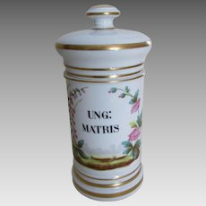 Porcelain Apothecary Jar, Ung: Matris, Hand Painted French Limoges