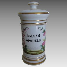 Porcelain Apothecary Jar, Balsam Opodeld, Hand Painted French Limoges