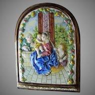 Antique Italian Hand Painted Majolica, Faience Plaque Madonna