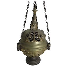 Antique Sanctuary Incense Burner, Candle Lamp with Gargoyles, Church Finial