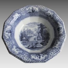 Antique c1850s Medina Transferware Wash Basin, Bowl, Flow Blue
