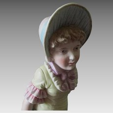 """Beautiful Antique Victorian French Bisque Girl Figurine, 14"""" High VG Condition"""