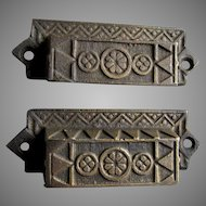 6 Victorian c1880s Eastlake Cast Iron Handles, Drawer Pulls
