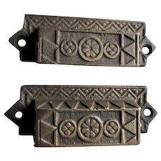 6 Victorian c1880s Eastlake Cast Iron Handles, Drawer Pulls