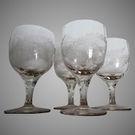 Lovely Set of 4 Victorian Water Goblets, Hand Blown & Etched