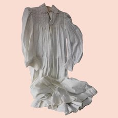 c1880s Victorian Breakfast Gown with Eyelet Lace and Ruffles
