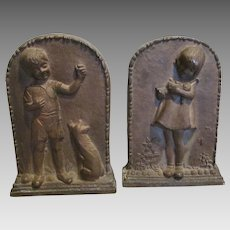 c1930s Art Deco Bookends, Girl with Doll, Boy with Dog