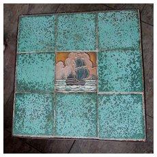 Antique Arts & Crafts De Porceleyne Fles Art Pottery Tile Table, Wrought Iron