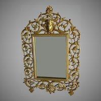 Antique Vanity Mirror, Picture Frame with Cherub & Grape Vines