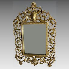 Antique Vanity Mirror, Picture Frame with Cherub & Grape Vines